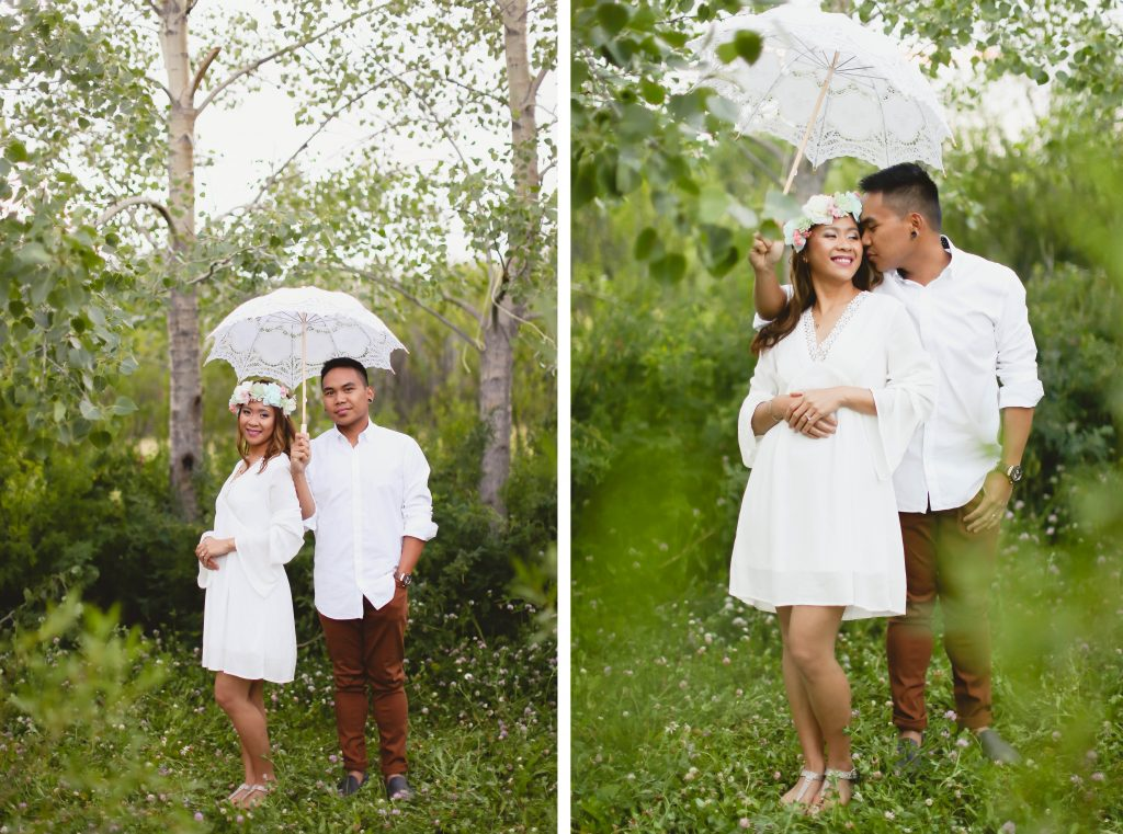 Couple under a white umbrella at farm house vintage rentals located near grande prairie. They have such beautiful smile and emotion.