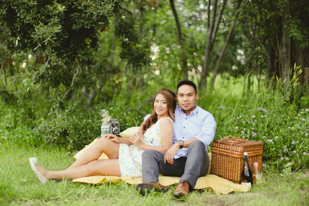 Cute picnic setup for the 1 year anniversary with sharra and rex at farm house vintage rentals.