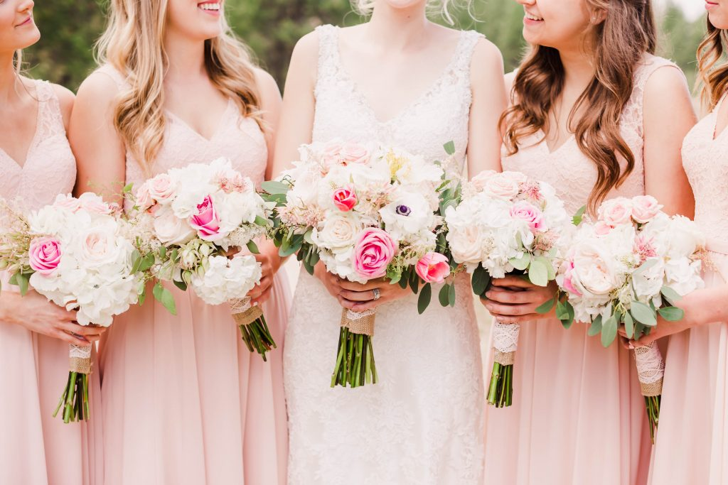 beautiful pink bridemaids flowers done by bloom and ivy in kelowna grande prairie.