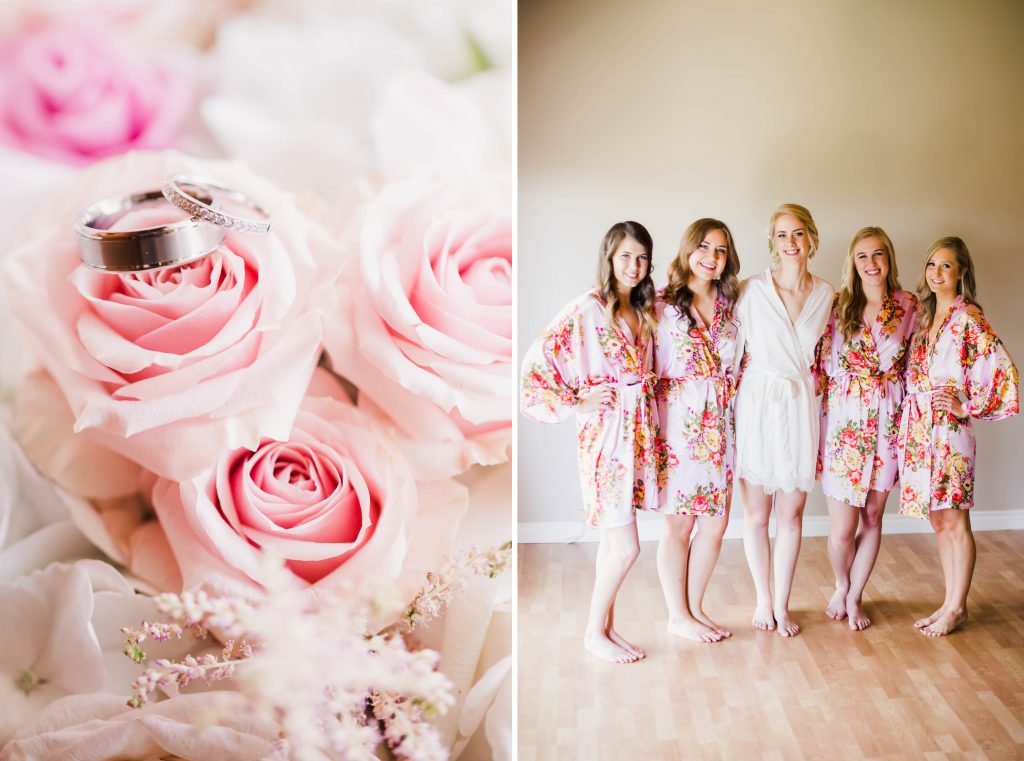 pink ring photography and bride and bridemaids wearing pink floral robes.
