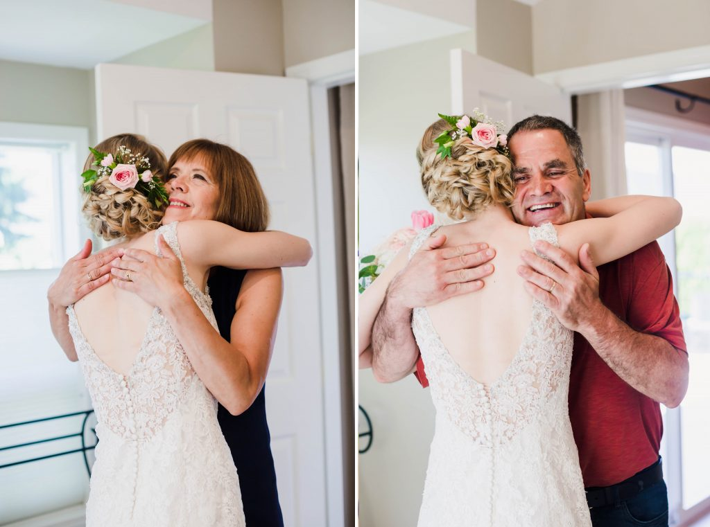 bride's mom and dad hugging her during their first look.
