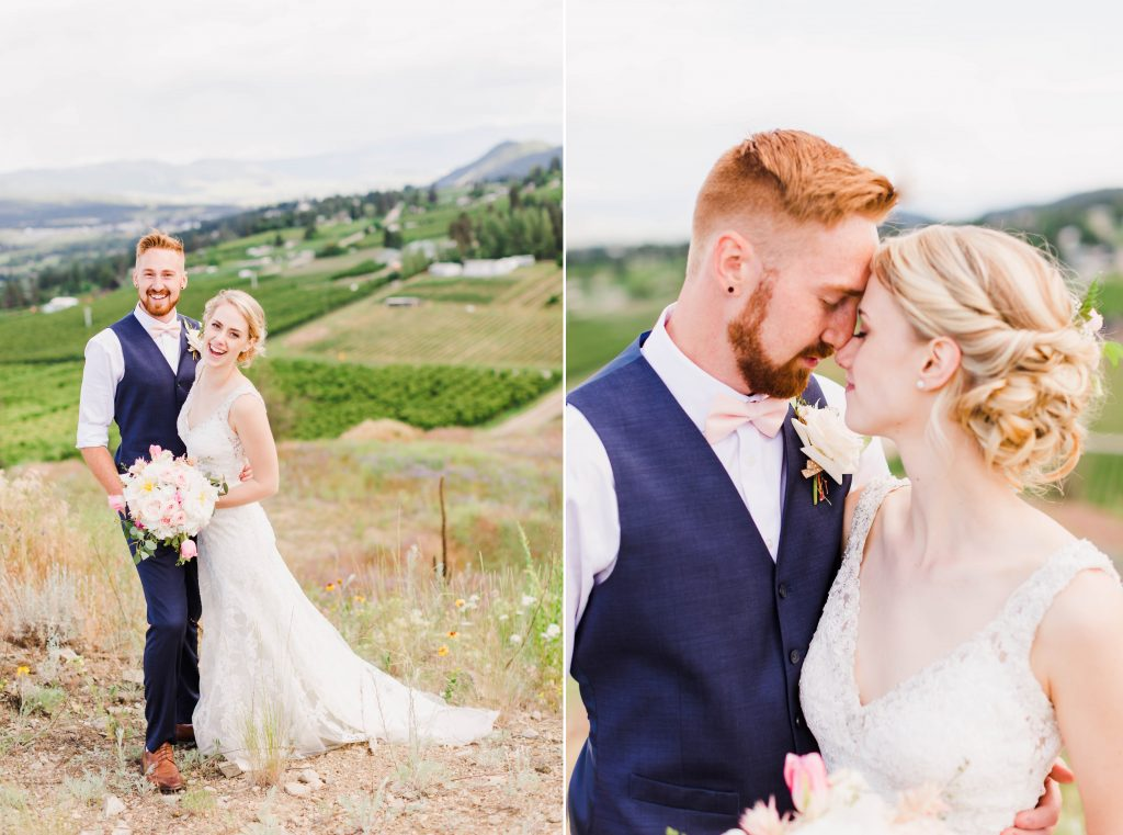 bride and groom smiling beside vineyards and hills in grande prairie and kelowna