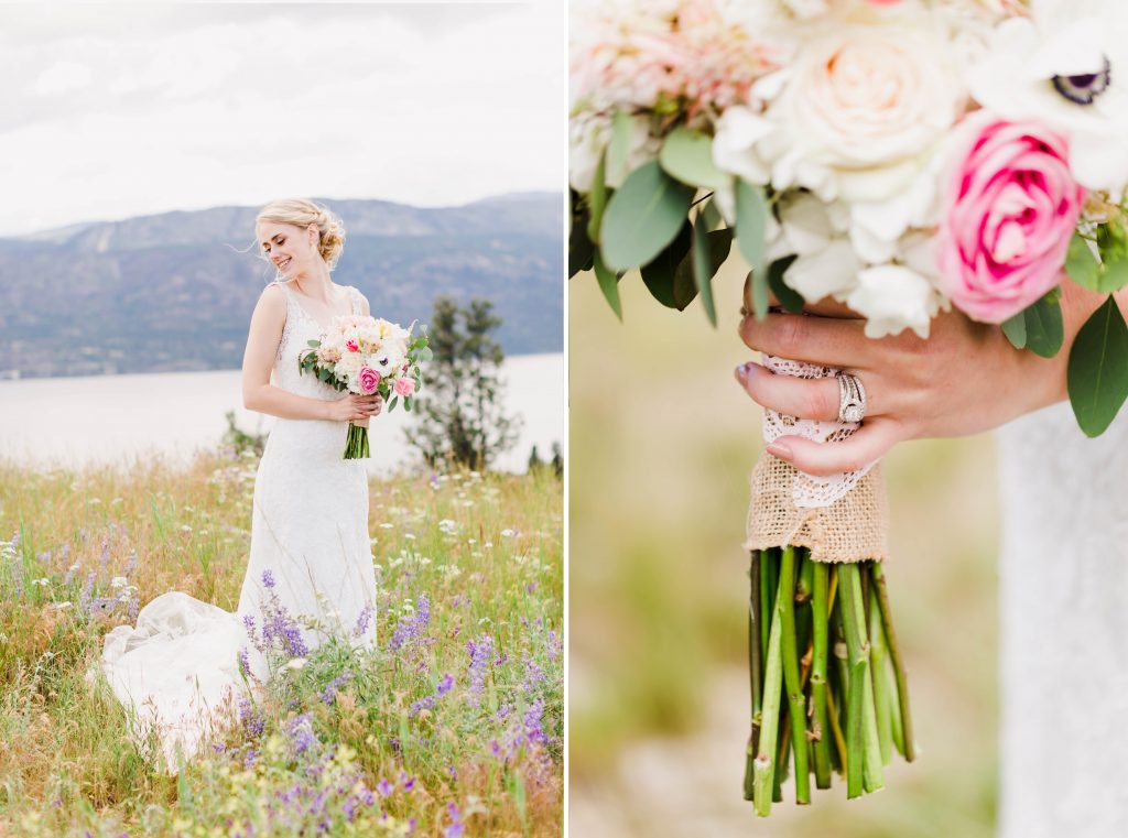 bride holding her flowers in grande prairie and you can see her ring