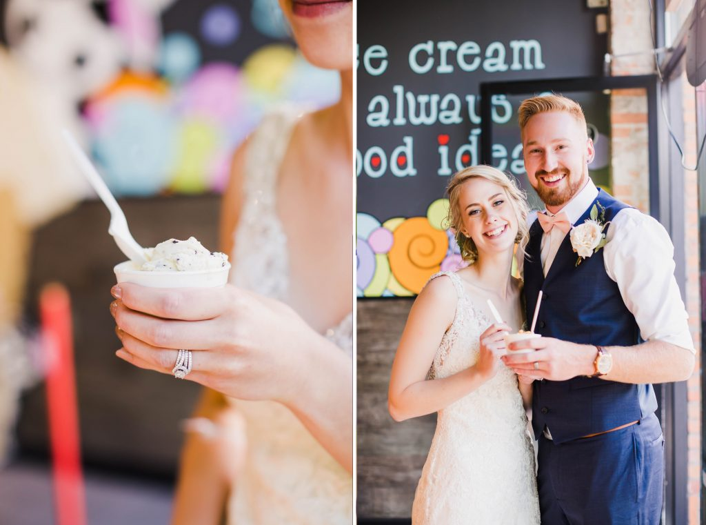 bride and groom sharing an ice cream in moo-lix at kelowna.