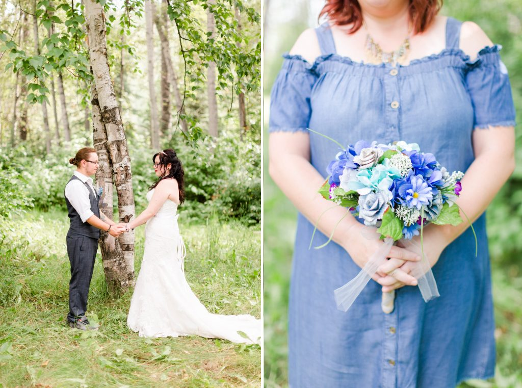 bride and groom getting married at their ceremony beside two intertwined trees in the green forest