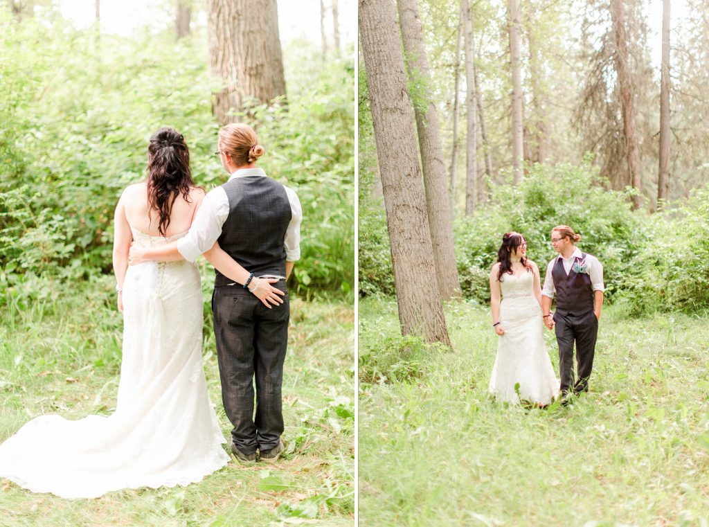 bride and groom have their amrs around each other in the nature