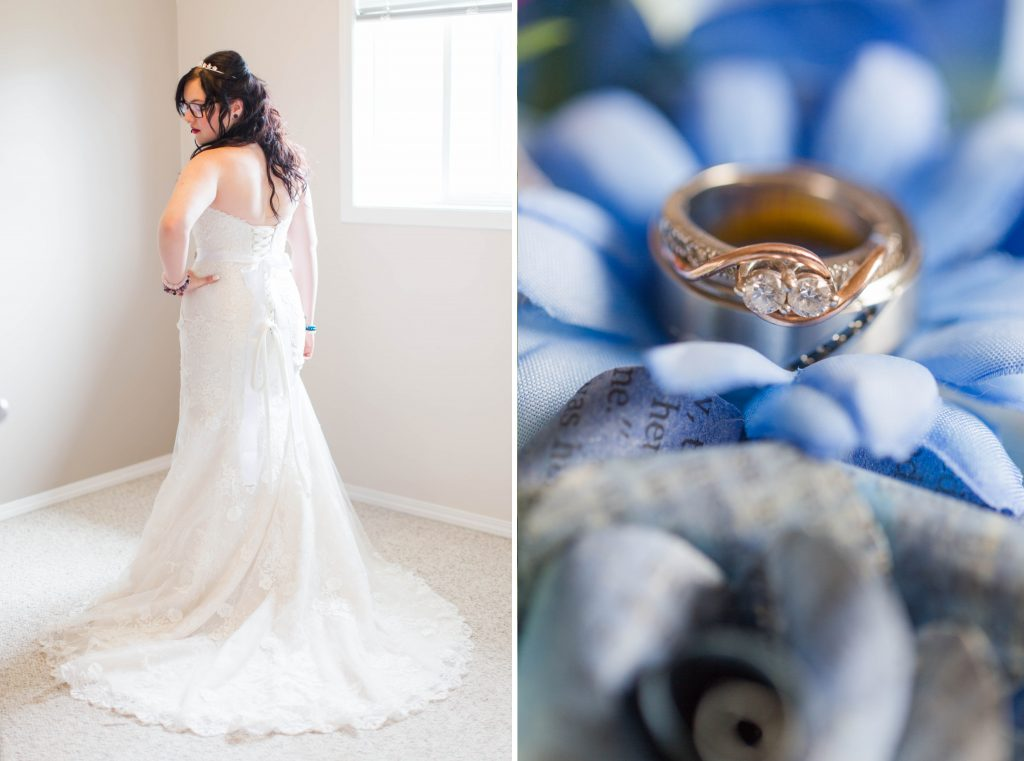 bride getting ready hand on hip and her wedding ring in pretty blue and purple flowers