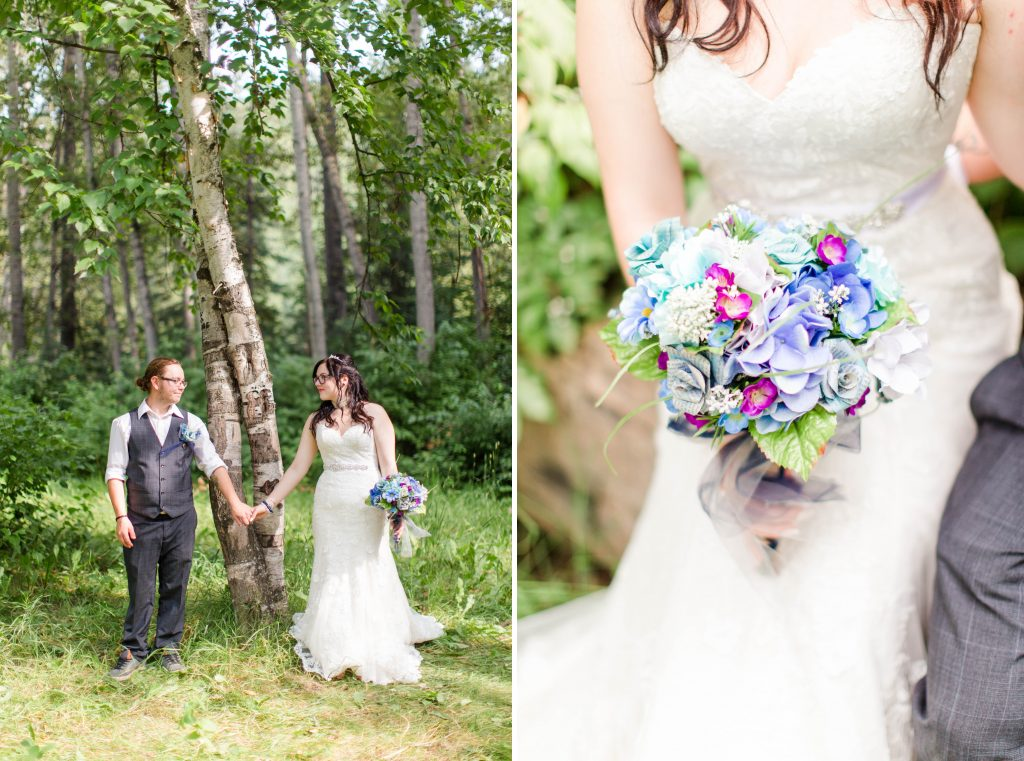bride and groom holding hands around the special tree of love in the forest