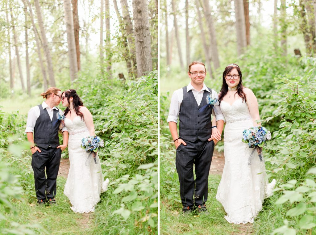 bride and groom in the grande prairie forest surrounded by lots of leafs and trees. Lots greens.