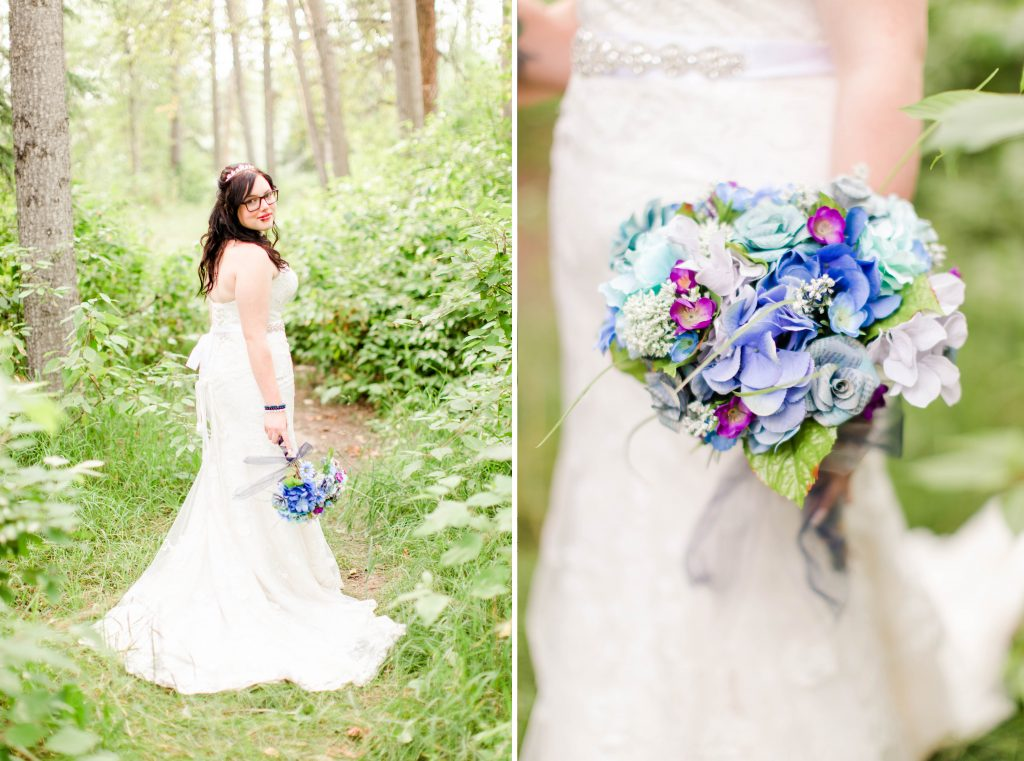 beautiful wedding bride in the forest and her blue and purple wedding bouquet
