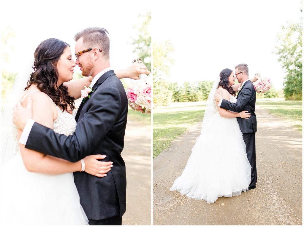 bride and groom hugging each other during their first look outside