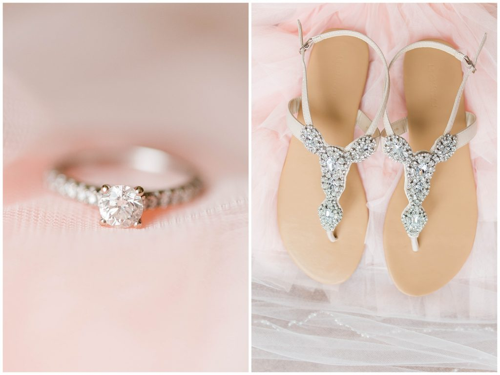 beautiful creamy blush pink wedding rings with lots of sparkles and wedding shoes and wedding ring