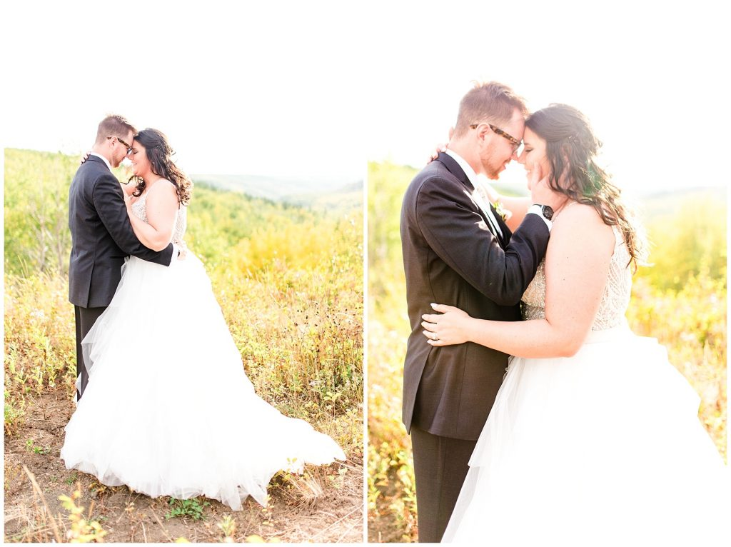 romantic wedding couple in September fall forehead touching