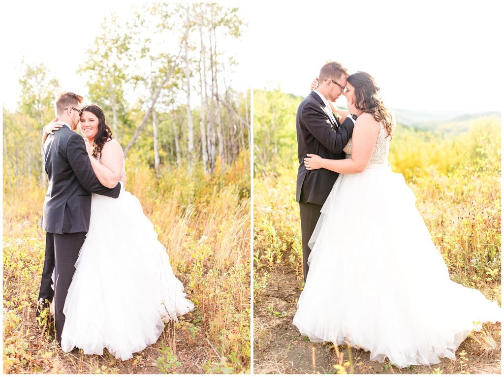 bride and groom romantic photo on their wedding day fall in alberta photograher