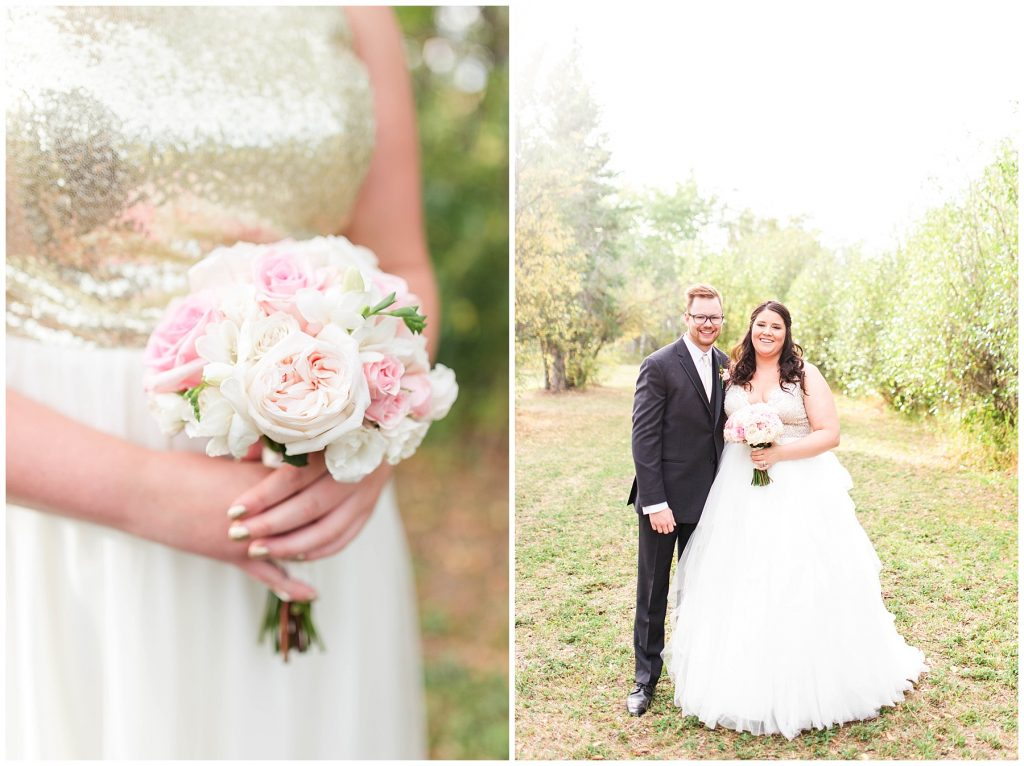 bride and groom smiling with wedding bouquet