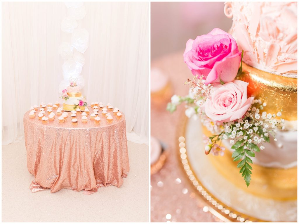 cake and cupcakes sitting on blush pink gold wedding table with a flower close up