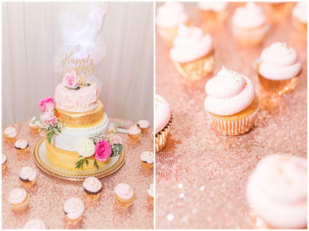 beautiful gorgeous gold and blush pink wedding cake with kayla lynn photography