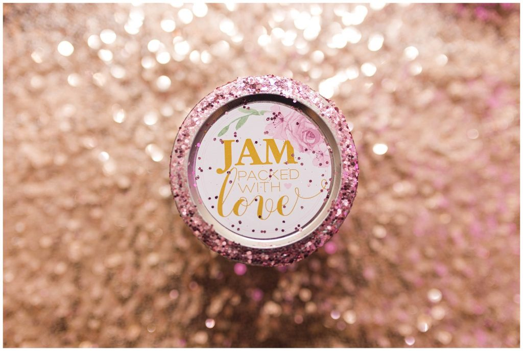 jam packed with love wedding party favors so cute with gold and blush pink