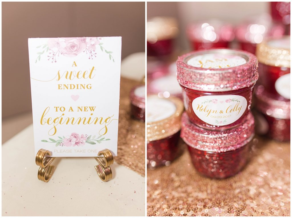 pretty wedding favors and sign at robyn and colby wedding jam packed with love image design