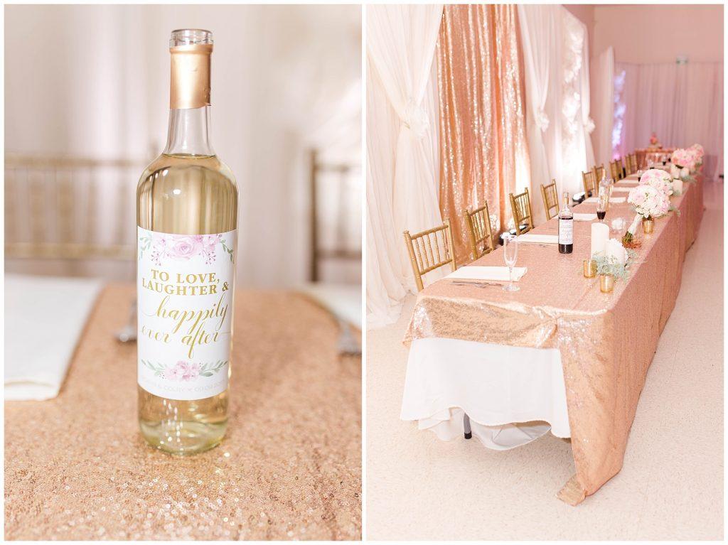 pretty gold wine bottle and the sparkles gold blush pink wedding table in grande prairie rec-plex