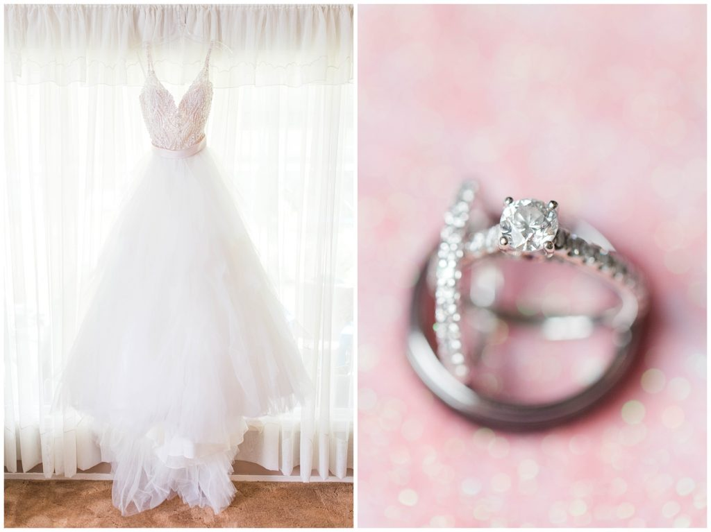 beautiful fairy tale white wedding dress and blush pink wedding engagement ring and dress