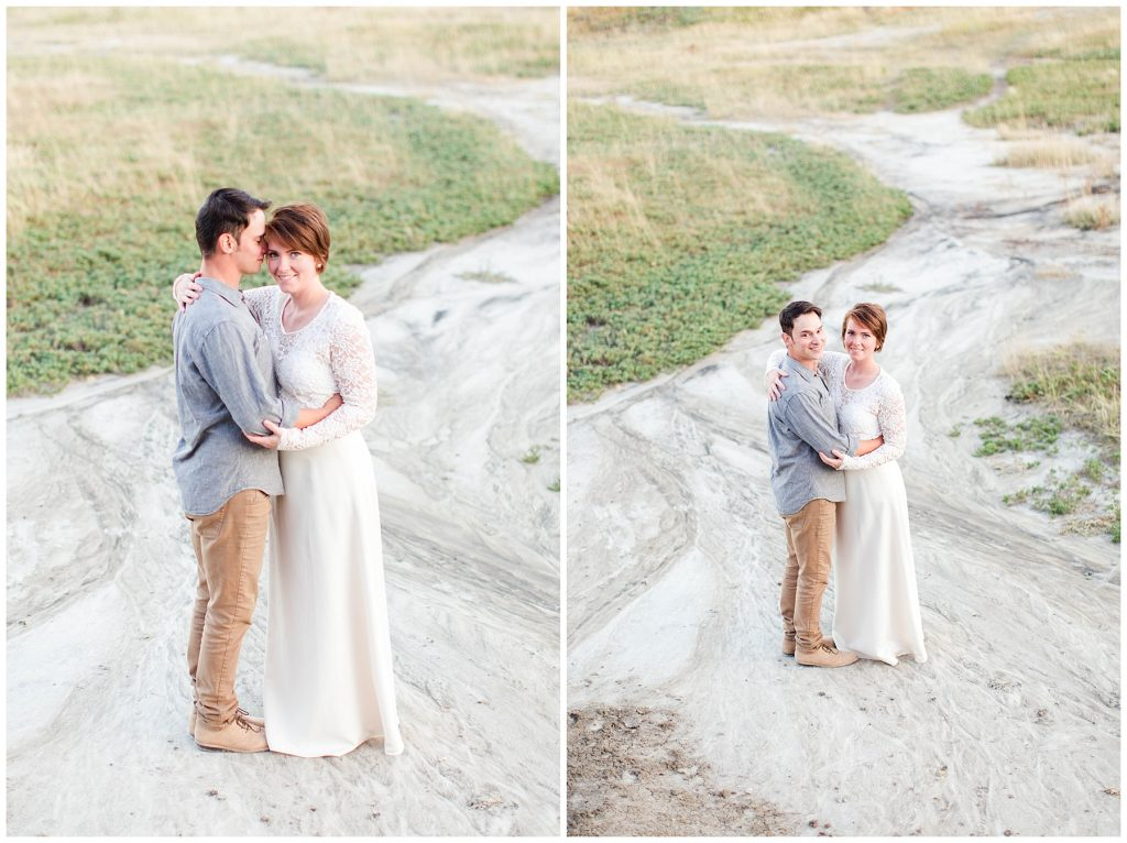 couple standing on sandy hills at kleskun grande prairie adorable cute couple