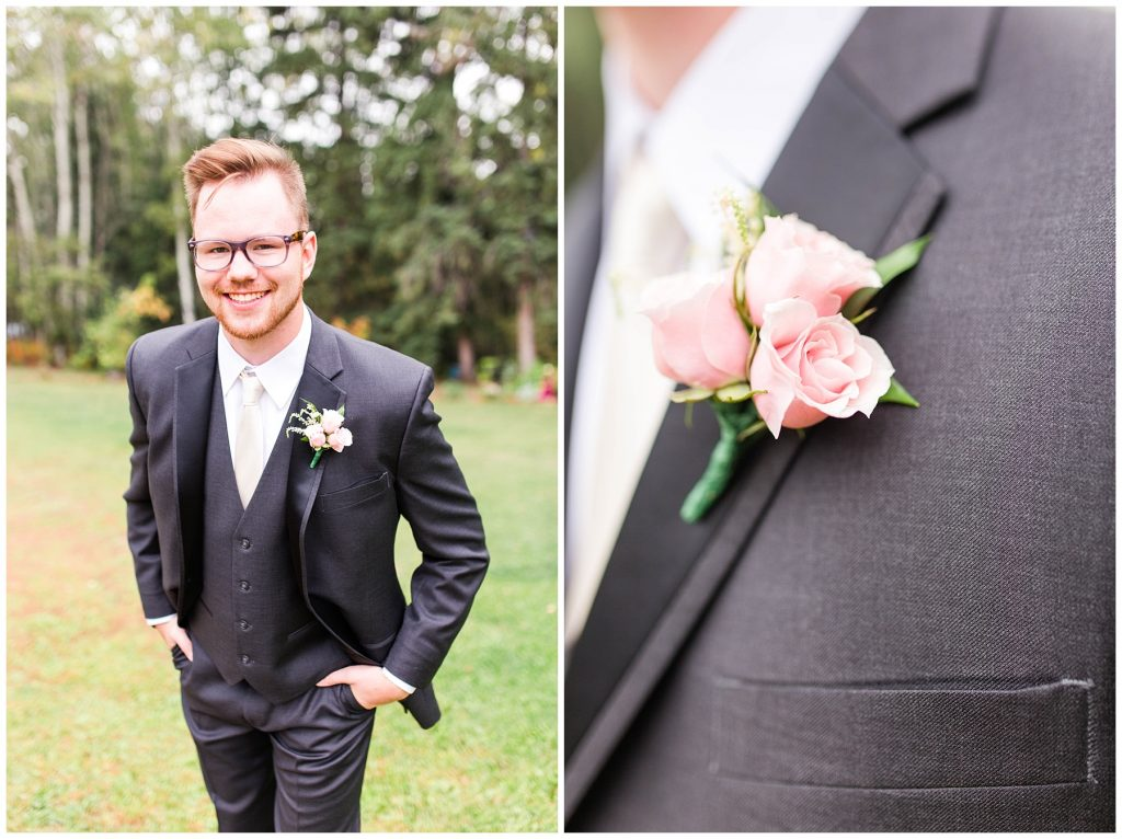 groom smiling on the wedding day outside and a photo of pink flowers on his vest