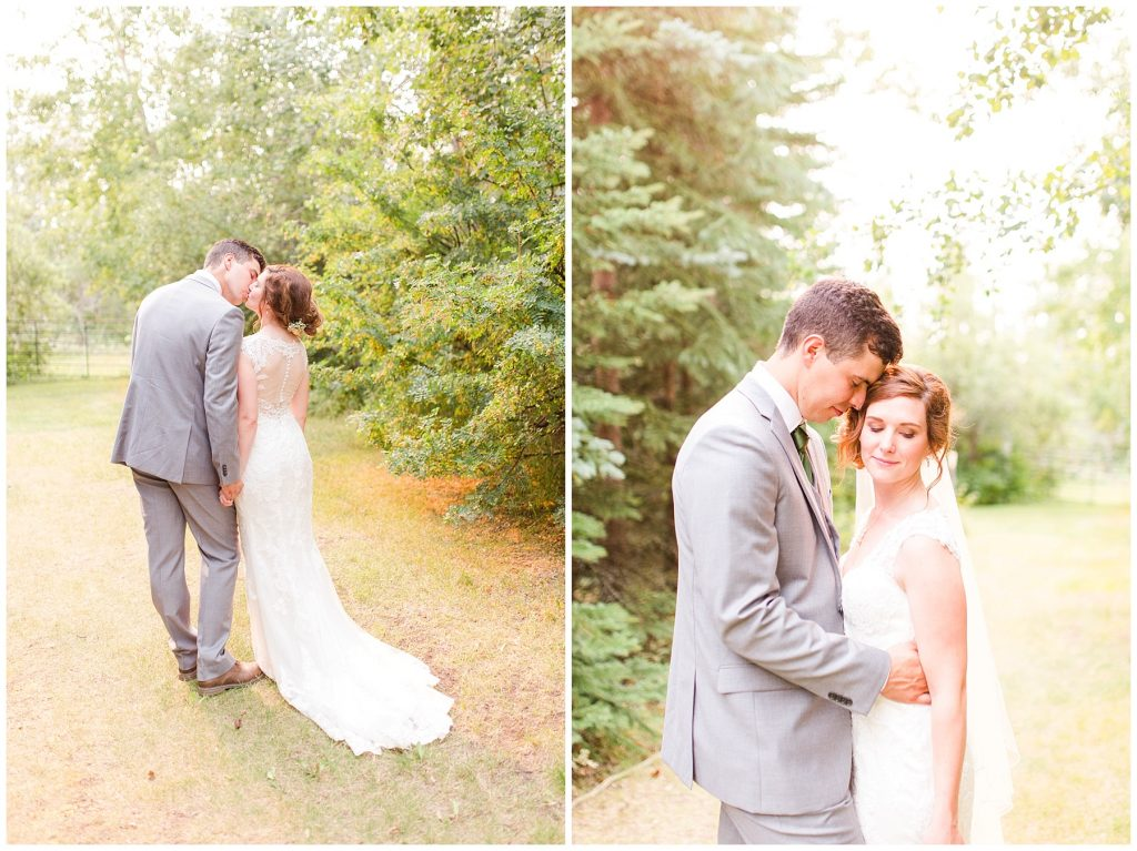 wedding photography couple posed at the millwood outside in golden hour light very beautiful light and airy style