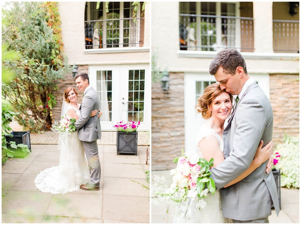 bride and groom with kayla lynn photography at the millwood chest to chest romantic couple in love in grande prairie