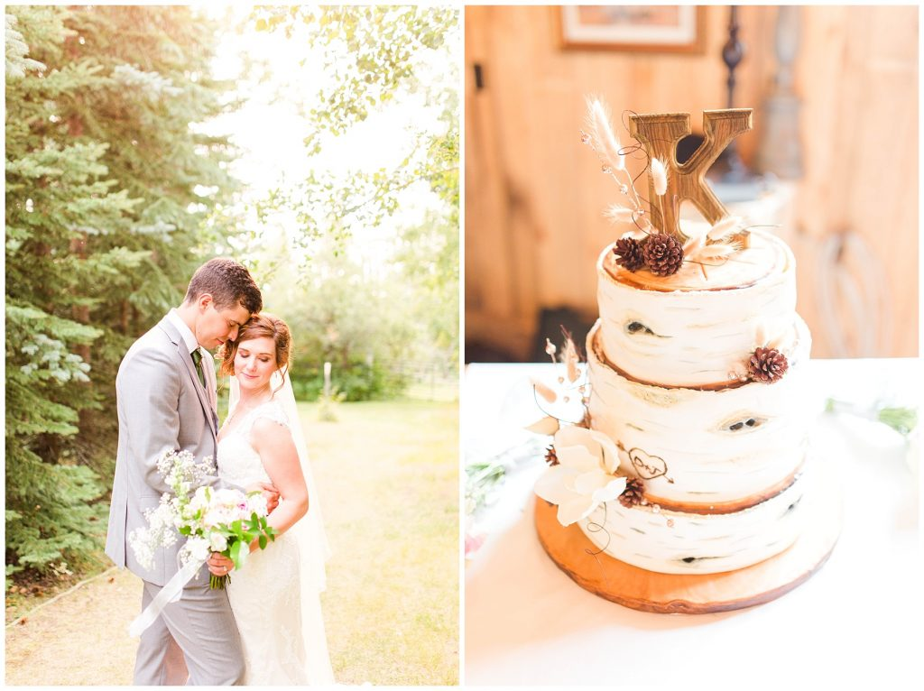 romantic wedding couple posed at the millwood in and suits with their cute vintage vanilla wedding cake