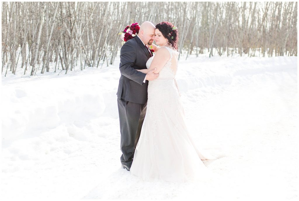 couple grande prairie winter wedding