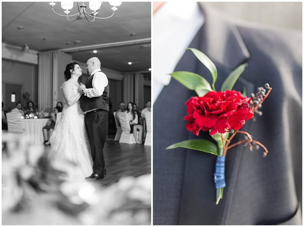 couple during their first dance at the pomeroy hotel for their wedding day and also bling out parties boutonniere red