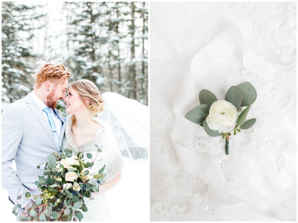bride and groom winter wedding shoot by kayla lynn photography in grande prairie so romantic with flowers by the enchanting bouquet outdoor outside in the snow