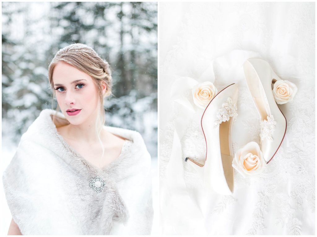 beautiful bride and gorgeous wedding shoes in a winter outdoor wedding shoot makeup by makeup by lina