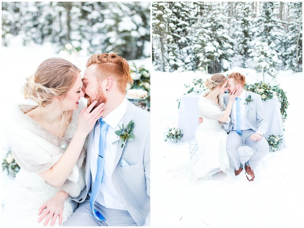 elegant photos of bride and groom nose to nose for outdoor winter styled wedding shoot with blue grey and white in grande prairie