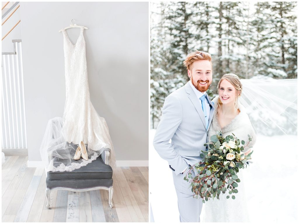 getting ready photos with veil dress from castaspella in grande prairie on a grey elegant chair by changing dreams to reality bride and groom also happy looking at the camera outside in the winter