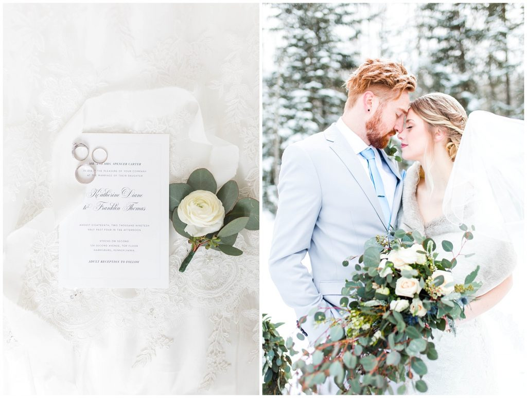 wedding invitation on wedding dress from shine weddings taken in grande prairie. The couple is outside nose to nose with the enchanting bouquet flowers greenery and the pretty boutonniere