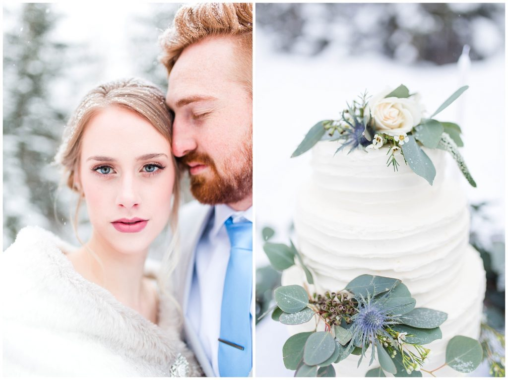 gorgeous romantic bride outside in the winter for a wedding styled shoot and a beautiful wedding cake with flowers by changing dreams to reality and the enchanting bouquet in grande prairie
