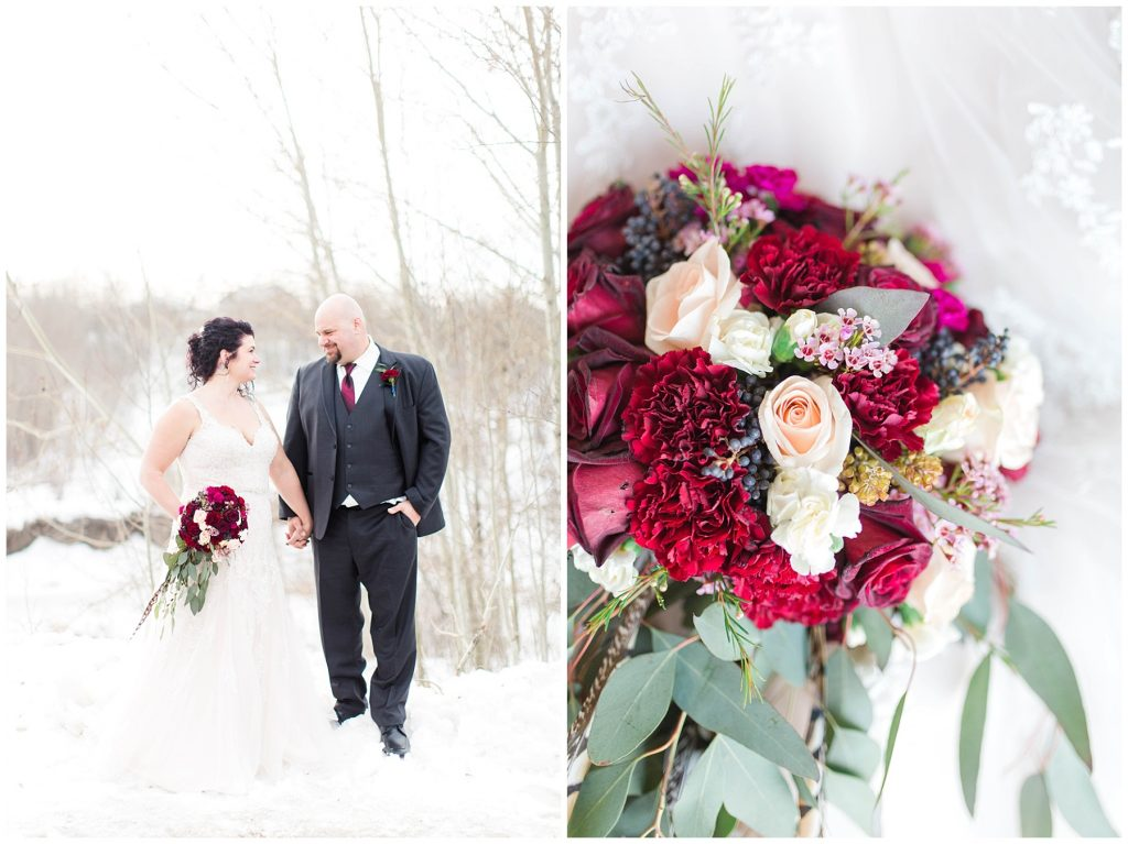 bride and groom holding hands with bling out parties red wedding bouquet in the winter time beautiful couple in love with kayla lynn photography
