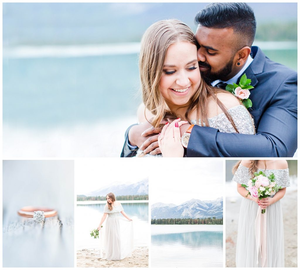 jasper engagement photos elopement wedding at lake annette with beautiful blue water and a light grey dress with black suit