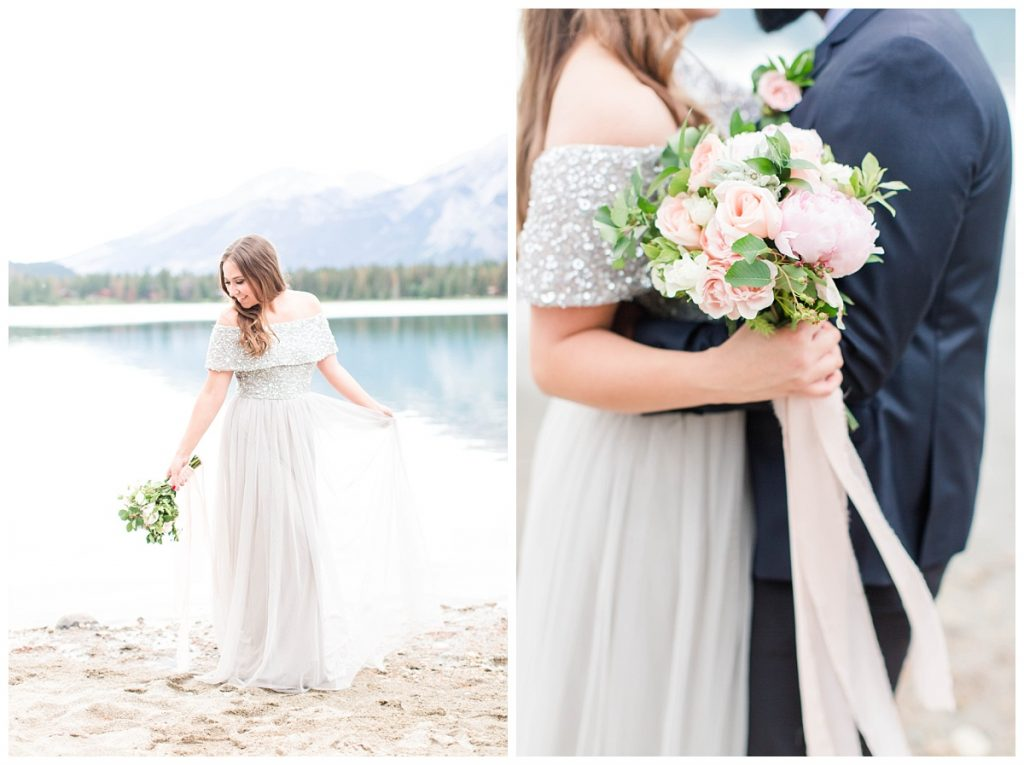 bride with her dress and bouquet made by the enchanting bouquet in grande prairie located at lake annette in jasper alberta photographer