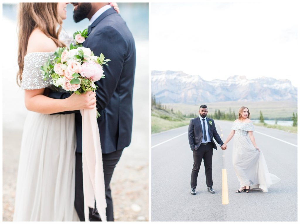couple standing on the road in jasper with bouquet of flower made by enchanting bouquet in grande prairie wedding photographer