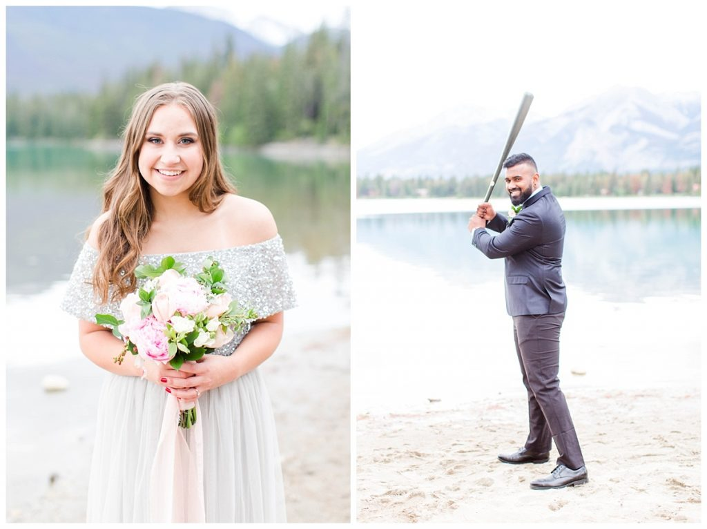 bride with flowers and groom with his bat baseball player in the moutains
