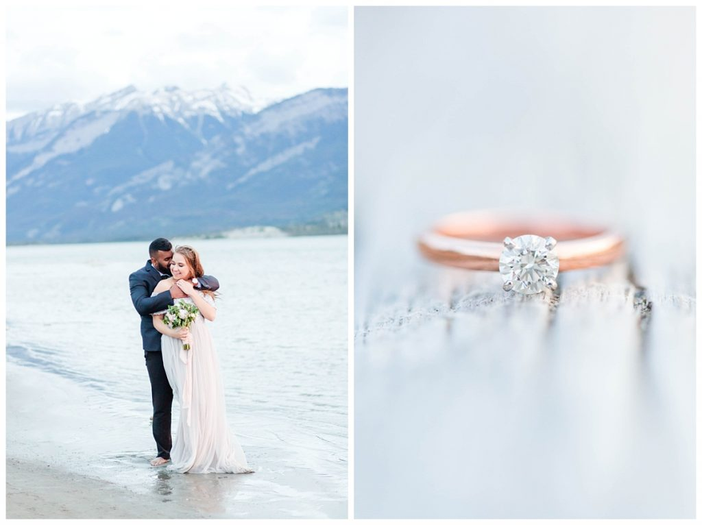 bride and groom in jasper lake with flower and a rose gold ring