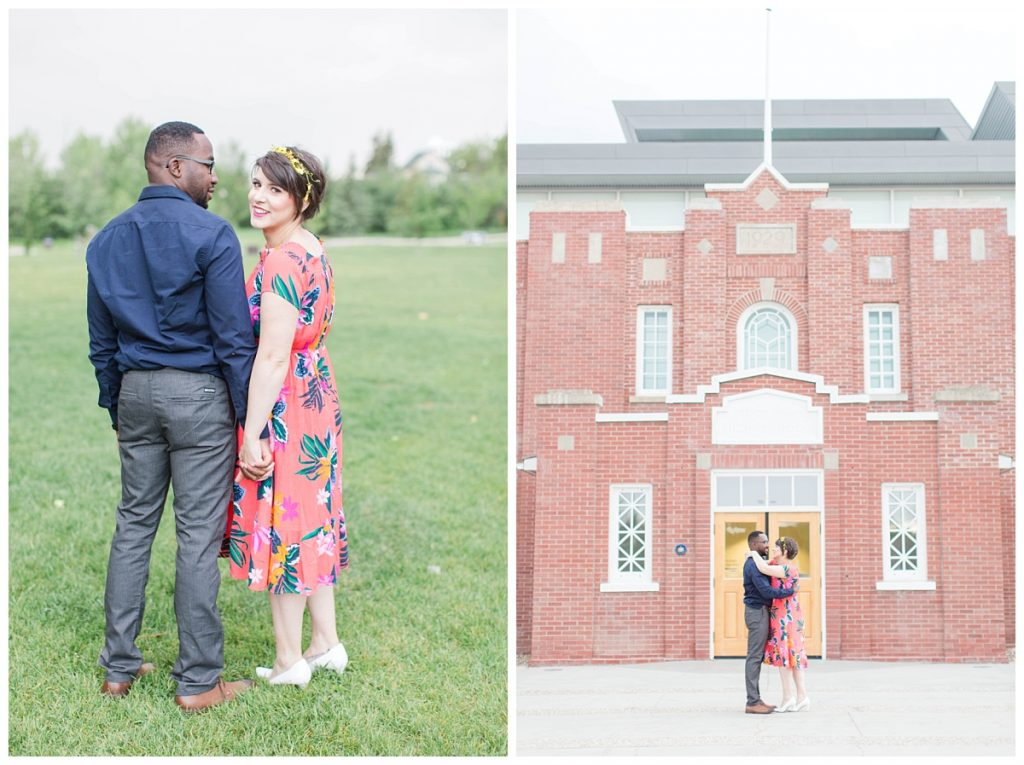 couple for their engagement photos ar muskoseepi park in grande prairie and in brick wall in front of the public library