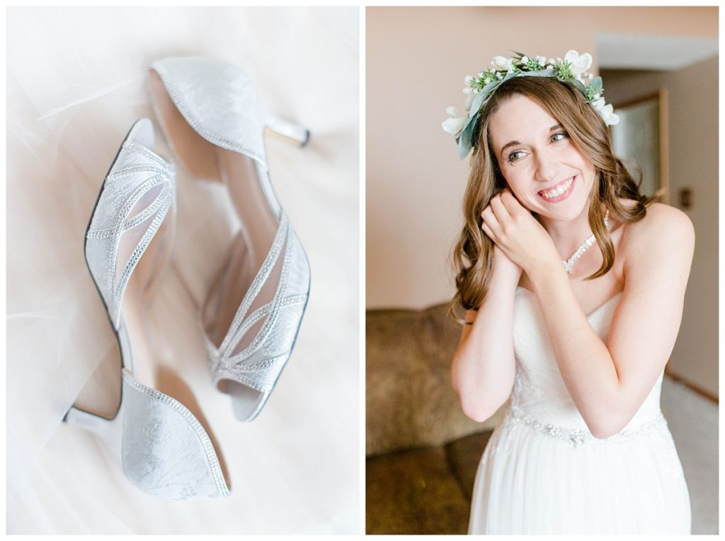 bride getting ready on her wedding day taylor very elegant silver wedding shoes bride getting ready earrings