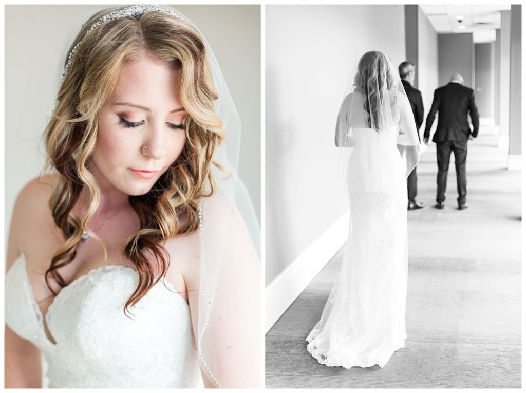 bride portraits going for a first look with her brother and dad father for the first time at the pomeroy hotel in grande prairie