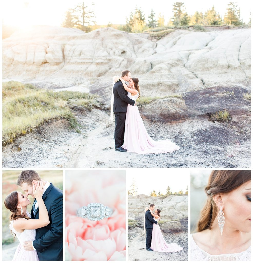 grande prairie wedding photographer at alberta kleskun hills for chris and lina engagememt photos very classy with light pink dress