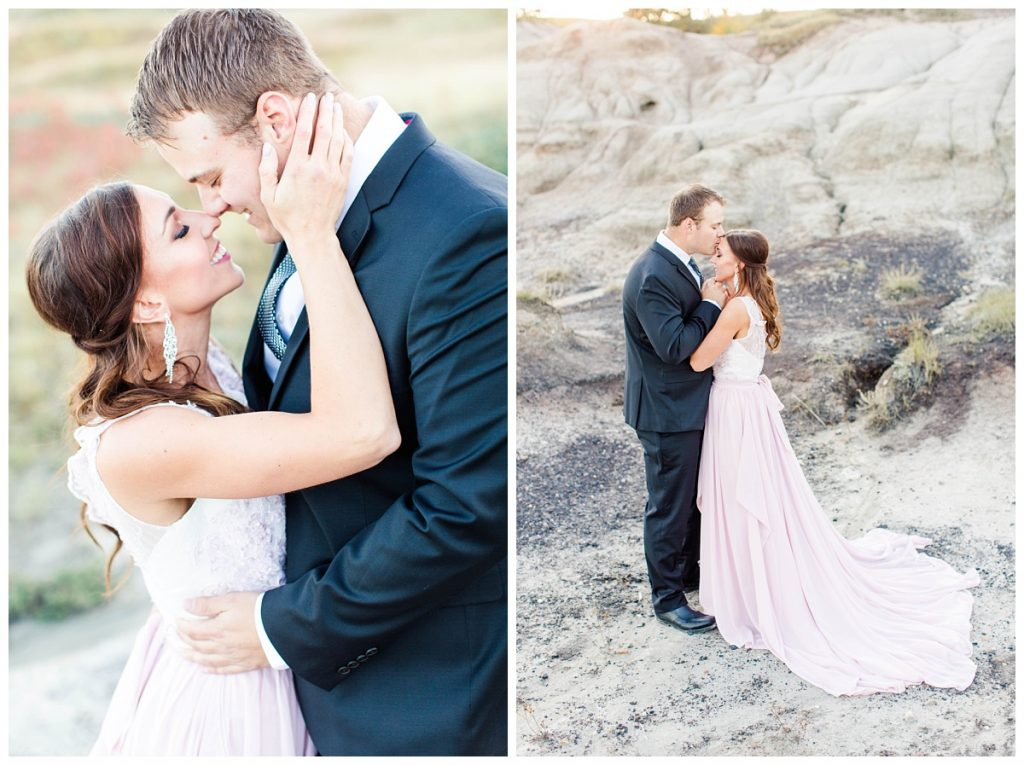 grande prairie wedding photographer captures elegant classy couple engagement photos at kleskun hills alberta blush pink dress and black suit menswear