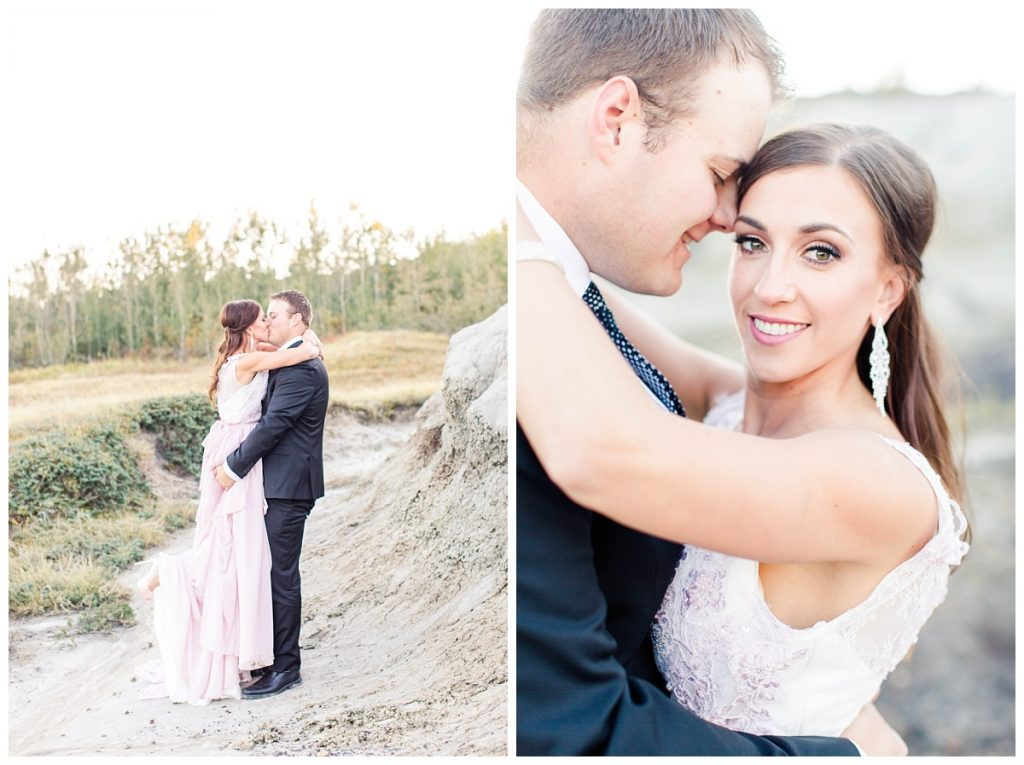 kayla lynn photography grande prairie alberta photographer at kleskun hills capturing chris and lina engagement and wedding photos in pink dress chiffon and tux black lifting her up for a kiss